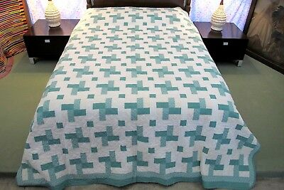 QUEEN Vintage Dated 1994 Hand Made, Hand Quilted SPIRIT OF ST LOUIS Quilt, Good!