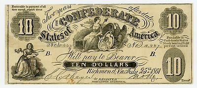 1861 CT-10 $10 Confederate States of America (Upham CTFT.) Note