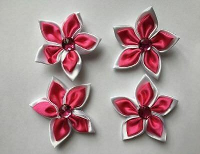 Satin Flowers - Hot Pink & White - New & Sealed