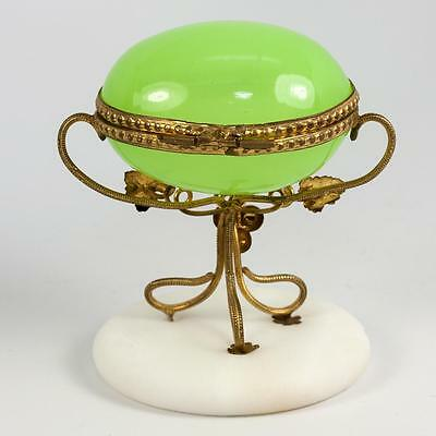 Lovely Antique French Green Opaline Glass Egg Casket, Alabaster Plinth & Ormolu