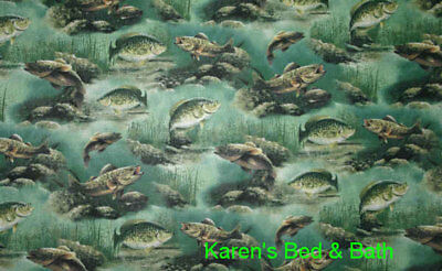 Fishing Lake Lodge Bass Crappie Fish Handcrafted Set of 24L Curtain Tier Panels