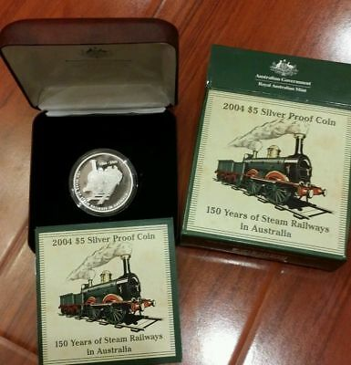 2004 $5 Proof coin 150 YEARS STEAM RAILWAY Silver Proof Coin