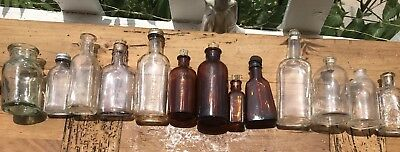 13 Antique & VTG Apothecary Bottles Amber Purple Veterinary Corks Estate Find!