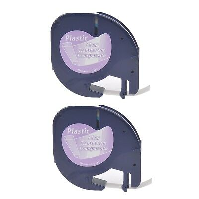 2x Plastic Label Maker Tape for DYMO Letra Tag 16952 LT12267 Black on Clear 1/2""