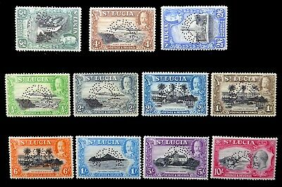 """St LUCIA 1936 G.V (11) """"SPECIMEN PERFINS) Some with Faults NJ110"""