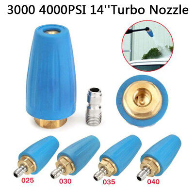 High Pressure Washer Rotating Turbo Nozzle Spray Quick Connect Tips GPM 2.5-4.0