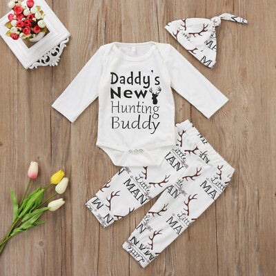4977c1a56 Baby Boy Girl Outfits Set daddy's new hunting buddy Print Romper+Pants  Clothes