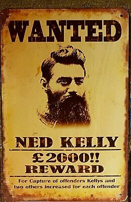 Ned Kelly Wanted Metal Tin Signs Bar Shed & Man Cave Signs AU Seller