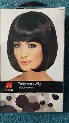 Black Partyrama Wig, Short Bob Adult Womens Smiffys Fancy Dress Costume