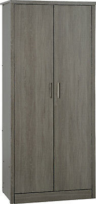 Lisbon 2 Door Wardrobe in Black Wood Grain Effect Veneer