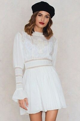 00acd3cd6710 FREE PEOPLE Victorian Waisted Mini Dress Size 0 XS White Embroidered  Crochet NWT