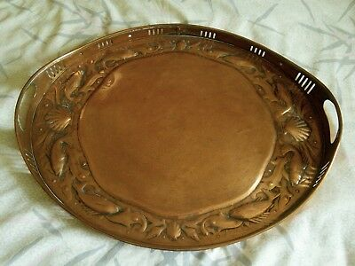 Antique Arts and Crafts Large Copper Tray Fish & Shell Design by Newlyn