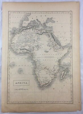 Original 1841 Large Map of Africa Engraved by Sidney Hall