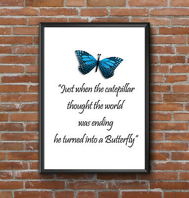 Inspirational Motivational Butterfly Quote Life Print Picture Poster Wall Art