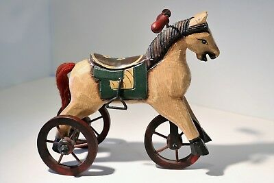 """Folk Art Carved Wood Horse Tricycle Hand Painted 7.5"""" tall Doll Display"""