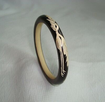 Vintage Art Deco Era Reversed Painted Cranes Bone Bracelet