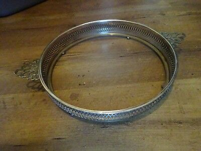 """Large Round Footed Silverplate Marked Casserole Serving Tray 10"""" Silverplated"""