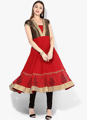 Ethnic Red Anarkali Kurta Kurti Designer Dress Women Tunic