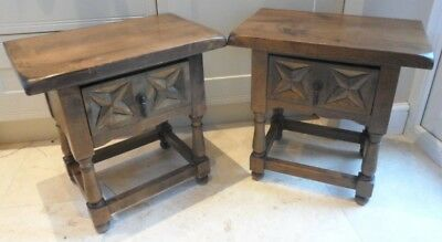 Pair of vintage French bedside cabinets, lamp side table, carved with drawer