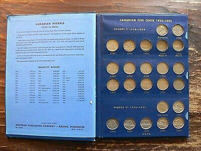 1960 Whitman 1922 - 1967 Canadian Nickels Book 50 Coins 25 And Both 26's Missing