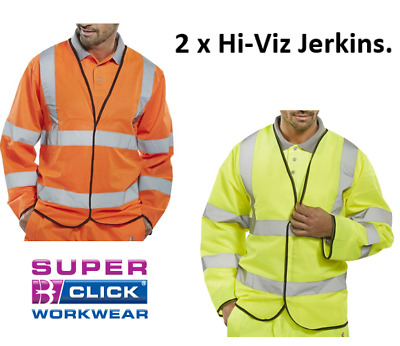 Hi Visibility Jerkin Yellow or Orange {2 pack} Conforms to EN ISO 20471