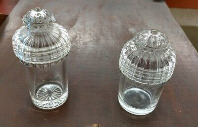 Vintage 2 EAPG SMALL Size Glass Apothecary Jars, screw tops