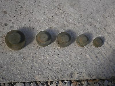 Antique Vintage Brass Weights Measures With Stamps For Balance