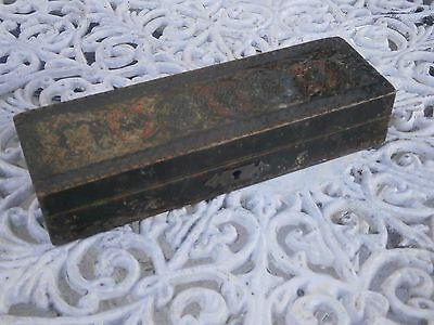 Antique Vintage Wooden School Box For Pencils And Pens With Patina