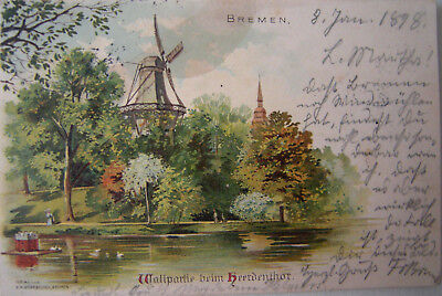 Litho Ak BREMEN   Wallpartie beim Herdenthor   1898