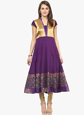 Purple Indian Pakistani Anarkali Kurta Kurti Ethnic Dress Women Tunic