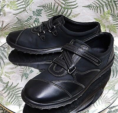 56c2c29ee7a Hotter Black Leather Sneakers Loafers Walking Comfort Dress Shoes Womens Sz  9