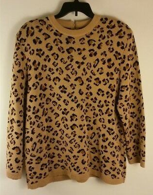 Vtg Danielle by Laura Size 2X Womens Sweater Pullover Leopard Shoulder Pads