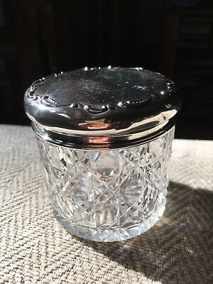 Antique Hobnail Crystal Solid Silver Hallmarked Vanity Jar c. 1919