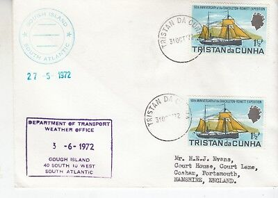 1972 Tristan Da Cunha 2 covers one Portsmouth and 1973 signed by chief islander