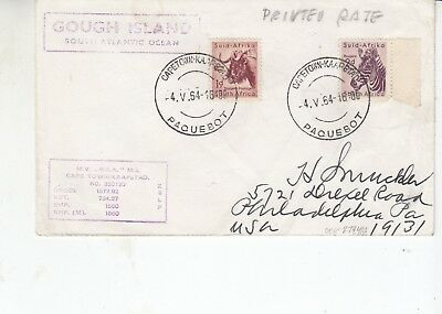 7 covers with South African stamps and Cape Town paquebot & Gough Island cachet