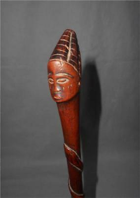 Antique Congo TOP HIGH AGED USED WOOD TRIBAL STAFF WITH FEMALE HEAD AND SNAKES