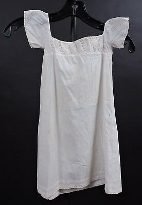 Regency Early 19Th C Hand Embroidered & Pleat Empire Waist Dress W Cap Sleeves