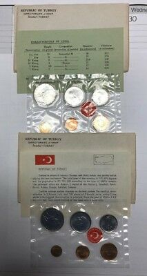 (2) sets of 1965 Turkey 6 Coin Mint Set in Original Packaging Lot of 2  DC