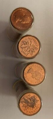 Lot of (4) rolls of uncirculated 1959  Canadian Cents Coins Canada penny  SD