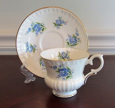 Crown Staffordshire FORGET-ME-NOT Tea Cup & Saucer Blue Floral GOLD TRIM vintage