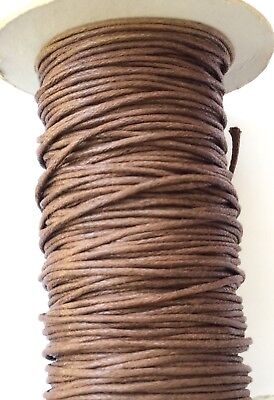 10 Yards Genuine Brown Natural Round Cotton Waxed Cord-Jewelry Supplies