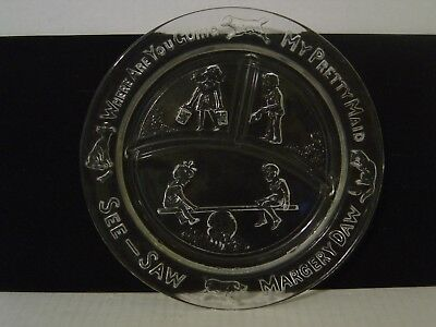 Vintage Clear Glass 3 Section Baby Dish Where Are You Going My Pretty Maid