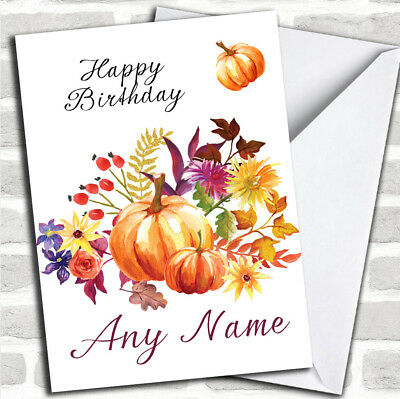 Pumpkin Floral Customized Birthday Greetings Card