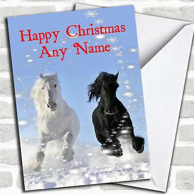 Grey & Black Horse Personalized Christmas Card