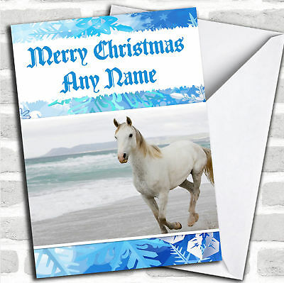 Beautiful White Horse Personalized Christmas Card