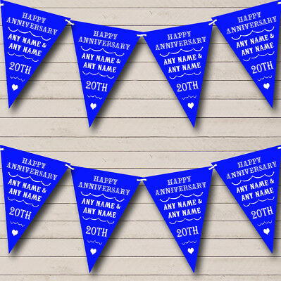 Vintage Text Any Year Royal Blue Wedding Anniversary Party Bunting Flag Banner
