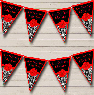 Zebra Print Red Bow Personalized Birthday Party Bunting Flag Banner