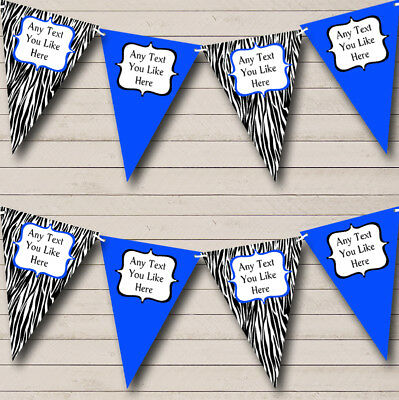 Zebra Print & Royal Blue Personalized Birthday Party Bunting Flag Banner