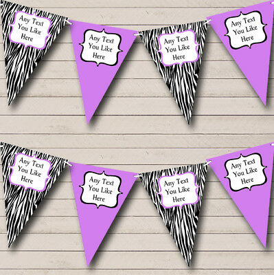 Zebra Print & Lilac Personalized Birthday Party Bunting Flag Banner