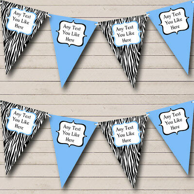 Zebra Print & Sky Blue Personalized Birthday Party Bunting Flag Banner